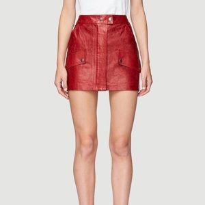 Frame Red Leather Skirt